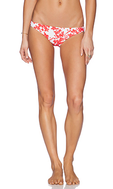 Shoshanna Beach Vines Classic Bikini Bottom in Poppy & White