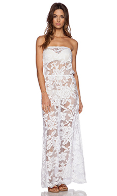 Shoshanna White Lace Strapless Maxi Dress in White