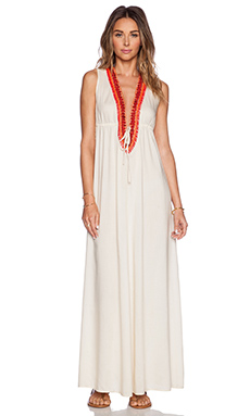 Shoshanna Wooden Embellishment Maxi Dress in Natural