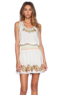 Shoshanna Ethnic Embroidery Smocked Waist Tank Dress in White