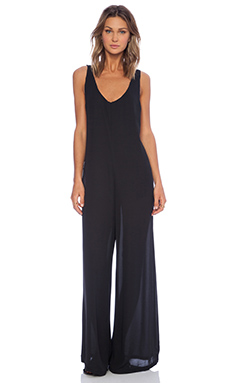 Show Me Your Mumu Venice Playsuit in Black Silky Satin