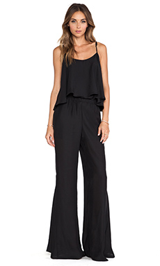 Show Me Your Mumu Danni Jumpsuit in Black Silky Satin