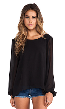 Show Me Your Mumu Jade Blouse in Black Sheer Chiffon