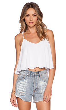 Show Me Your Mumu Charlie Crop Top in White Crisp