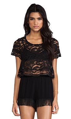 Show Me Your Mumu Leah Crochet Top in Iola Black Lace