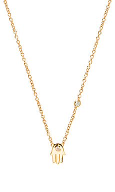 Shy by Sydney Evan Hamsa Necklace with Diamond in Yellow Gold