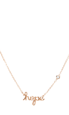 Shy by Sydney Evan Hope Necklace with Diamond Bezel in Rosegold