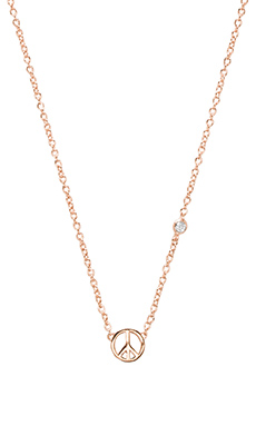 Shy by Sydney Evan Peace Sign Necklace with Diamond Bezel in Rosegold