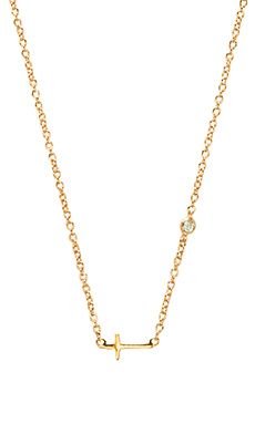 Shy by Sydney Evan Cross Necklace in Yellow Gold