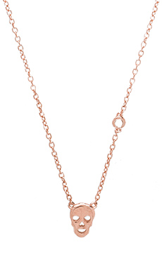 Shy by Sydney Evan Skull Necklace in Rose Gold