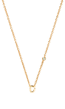 Shy by Sydney Evan C Necklace with Diamond Bezel in Yellow Gold