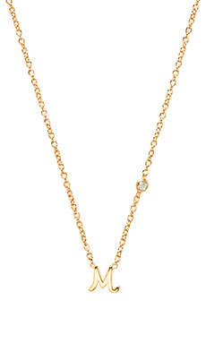 Shy by Sydney Evan M Necklace with Diamond Bezel in Yellow Gold