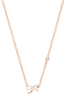Shy by Sydney Evan Bow Necklace with Diamond Bezel in Rose Gold