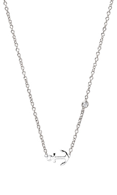 Shy by Sydney Evan Anchor Necklace with Diamond Bezel in White Rhodium