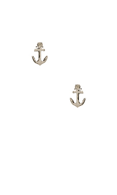 Shy by Sydney Evan Anchor Stud Earrings with Diamond Bezel in White Rhodium