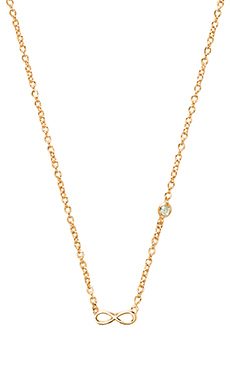 Shy by Sydney Evan Infinity Necklace with Diamond Bezel in Yellow Gold