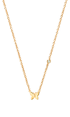 Shy by Sydney Evan Butterfly Necklace in Yellow Gold
