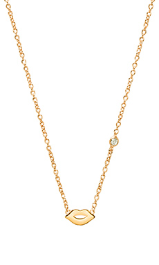 Shy by Sydney Evan Lips Necklace with Diamond Bezel in Yellow Gold