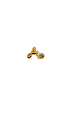 Shy by Sydney Evan A Stud Earring with Diamond Bezel in Yellow Gold