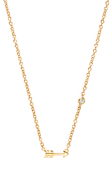 Shy by Sydney Evan Arrow Necklace with Diamond Bezel in Yellow Gold