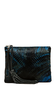 Simone Camille The Dash Clutch in Olive & Multi Fan Print