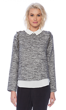 Sister Jane Glimmer Tweed Oyster Blouse in Black & White