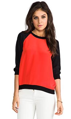 SJOBECK Lombard Silk Sweatshirt in Orange/Black
