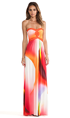 sky Sabi Strapless Dress in Coral