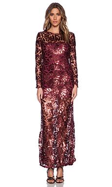sky Ornetta Maxi Dress in Wine
