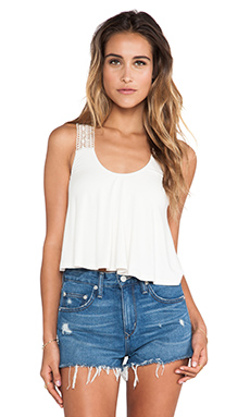sky Ardith Cropped Crochet Tank in Bone