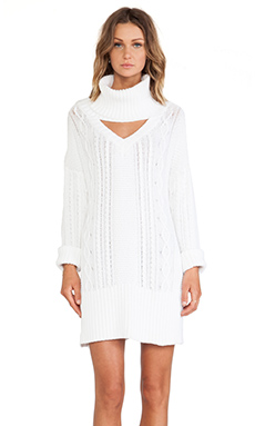 Somedays Lovin Derailed Cable Knit Jumper Dress in White