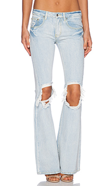 Somedays Lovin Gazer Rigid Denim Flare in Ice Blue