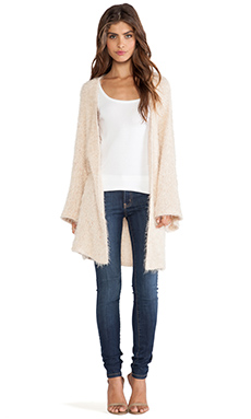 Somedays Lovin Limits Fluffy Knit Kimono Cardi in Natural