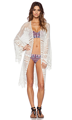 Somedays Lovin Big Wave Crochet Kimono in White