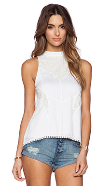 Somedays Lovin Fresh Air High Neck Lace Top in White