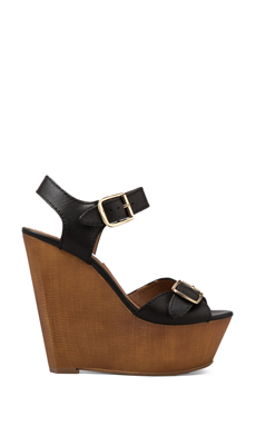 Steve Madden Breeann Wedge in Black Leather