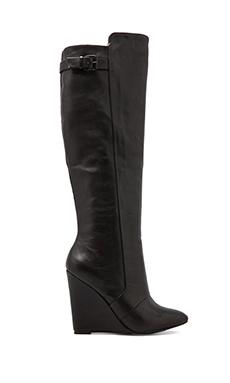 Steve Madden Zylonn Wedge Boot in Black Leather