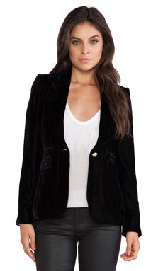 Smythe Peaked Lapel Velvet Blazer in Black