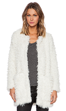 Smythe Chubby Faux Fur Jacket in Ivory