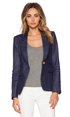 Smythe Peaked Lapel Blazer in Navy & White