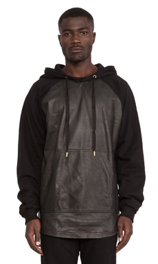 SKINGRAFT Alpha Leather Hoody in Black