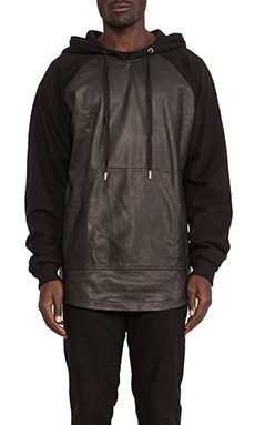 SKINGRAFT Alpha Leather Hoody in Black