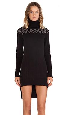 SKINGRAFT Knit Geo Turtleneck Sweater in Black