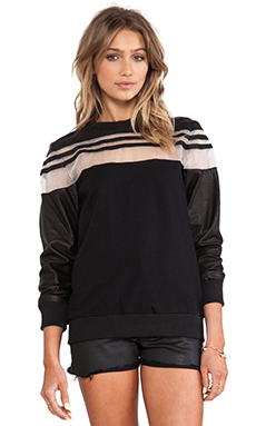 SKINGRAFT Sheer Shoulder Sweatshirt in Black