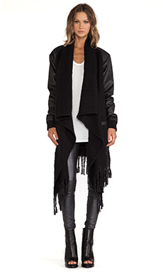 SKINGRAFT Woven Scarf Wrap Cardigan in Black