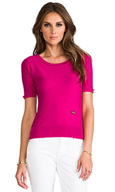 SONIA by Sonia Rykiel Short Sleeve Sweater in Peony