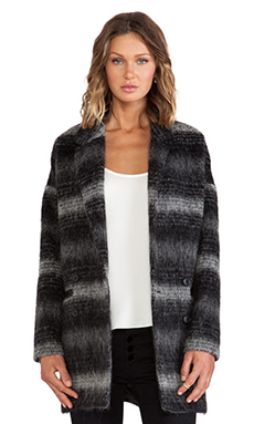 Soia & Kyo Michelle Plaid Wool Coat in Black