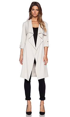 Soia & Kyo Ornella Draped Trench Coat in Oatmeal