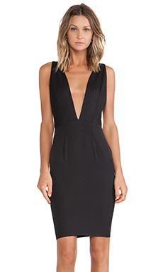 SOLACE London Milo Knee Length Dress in Black