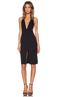 SOLACE London Bacall Knee Length Dress in Black